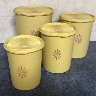 Set of 4 (four) maize yellow original TUPPERWARE stacking containers