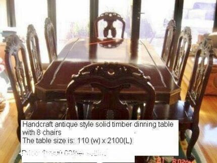 Qing Style Dinning Table with 8 Chairs