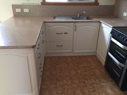 Cream kitchen cabinetry- excellent condition