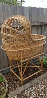 Vintage cane baby bassinet with stand moses basket removable