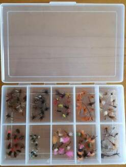 FLY BOX WITH 100 DRY FLIES AND EMERGERS- BRAND NEW