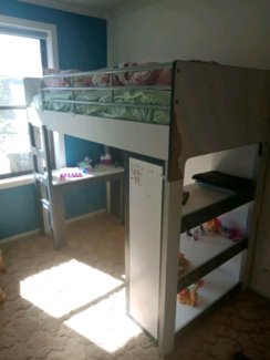 Solid loft bed with desk and shelving $120 firm