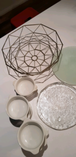 Plates, basket and pie dishes