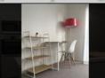 Bed frame, matress, quilt and pillow/ Desk, chair, floor lamp